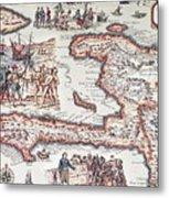 Map Of The Island Of Haiti Metal Print
