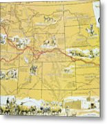 Map Of The Old Oregon Trail Metal Print