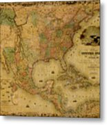Map Of The United States 1849 Metal Print