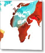 Map Of The World 4 -colorful Abstract Art Metal Print by Sharon Cummings