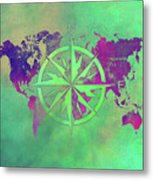 Map Of The World Wind Rose 3 Metal Print