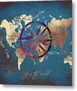 Map Of The World Wind Rose 4 Metal Print