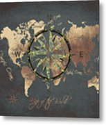 Map Of The World Wind Rose 5 Metal Print