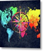 Map Of The World Wind Rose 6 Metal Print