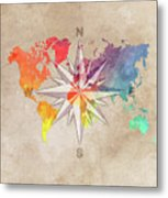 Map Of The World Wind Rose 7 Metal Print