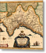 Map Of Valencia 1634 Metal Print