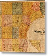 Map Of Wayne County Michigan Detroit Area Vintage Circa 1893 On Worn Distressed Canvas  Metal Print