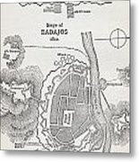 Map Showing The Site Of The Siege Of Metal Print