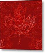 Maple Leaf Filigree Pattern Metal Print