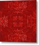 Maple Leaf Filigree Tiled Pattern Metal Print