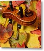 Maple Violin Scroll On Fall Maple Leaves Metal Print