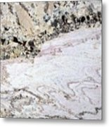 Marble Black Tan Pink Metal Print