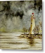 Marblehead Lighthouse In The Winter Metal Print