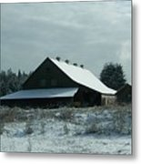 March Snows On The Barn Metal Print