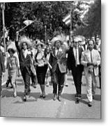 Marchers Wearing Hats Carry Puerto Rican Flags Down Constitution Avenue Metal Print