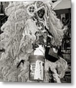 Mardi Gras Indian In Pirates Alley In Black And White Metal Print