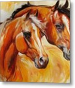 Mare And Stallion  By M Baldwin Sold Metal Print