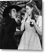 Margaret Hamilton And Judy Garland In The Wizard Of Oz 1939 Metal Print