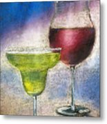 Margarita And A Glass Of Wine Metal Print