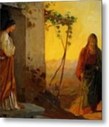 Maria Sister Of Lazarus Meets Jesus Who Is Going To Their House Metal Print