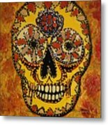 Marigold Skull Metal Print