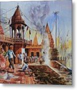 Marikarnika Ghat Varanasi Metal Print