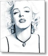 Marilyn Black And White Metal Print