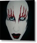 Face Black White Red Metal Print