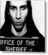 Marilyn Manson Mug Shot Vertical Metal Print