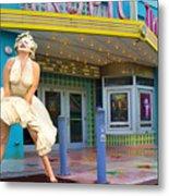 Marilyn Monroe In Front Of Tropic Theatre In Key West Metal Print