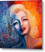 Marilyn Monroe Original Acrylic Palette Knife Painting Metal Print