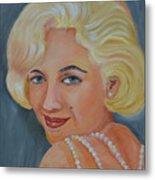 Marilyn Monroe With Pearls Metal Print