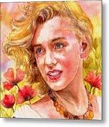 Marilyn Monroe With Poppies Metal Print