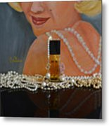 Marilyn With Chanel And Pearls Metal Print