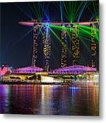 Marina Bay Sands Lasershow Metal Print