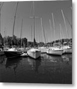 Marina On Lake Murray S C Black And White Metal Print