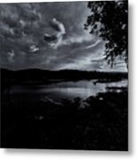 Marina Sunset Black And White Metal Print