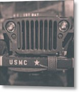 Marine Corps Jeep In Black And White Metal Print