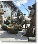 Marines Move Gear During An Embarkation Metal Print