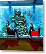 Marinelife Observing Couple Sitting In Chairs Metal Print