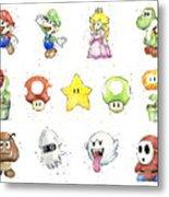 Mario Characters in Watercolor Metal Print