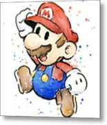 Mario Watercolor Fan Art Metal Print