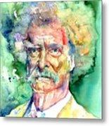 Mark Twain Watercolor Metal Print