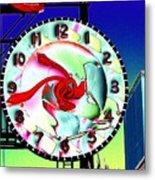 Market Clock 2 Metal Print