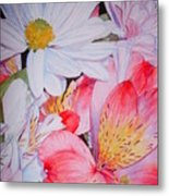 Market Flowers - Watercolor Metal Print
