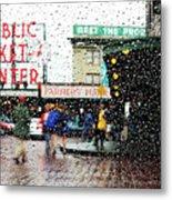 Market In Rain J005 Metal Print