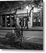 Market Street At Night In Black And White Metal Print