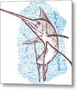 Marlin Woodcut Metal Print