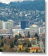 Marquam Bridge By Portland City Skyline Panorama Metal Print