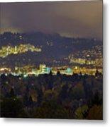 Marquam Hill And Portland Bridges At Night Metal Print